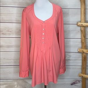 Motherhood Maternity Coral Pink Pleated Tie Blouse